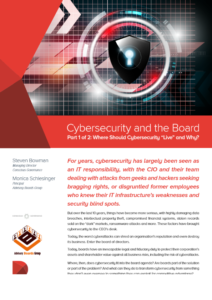 Cyber Security and the Board - Part 1: Where Should Cybersecurity 'Live' and Why?