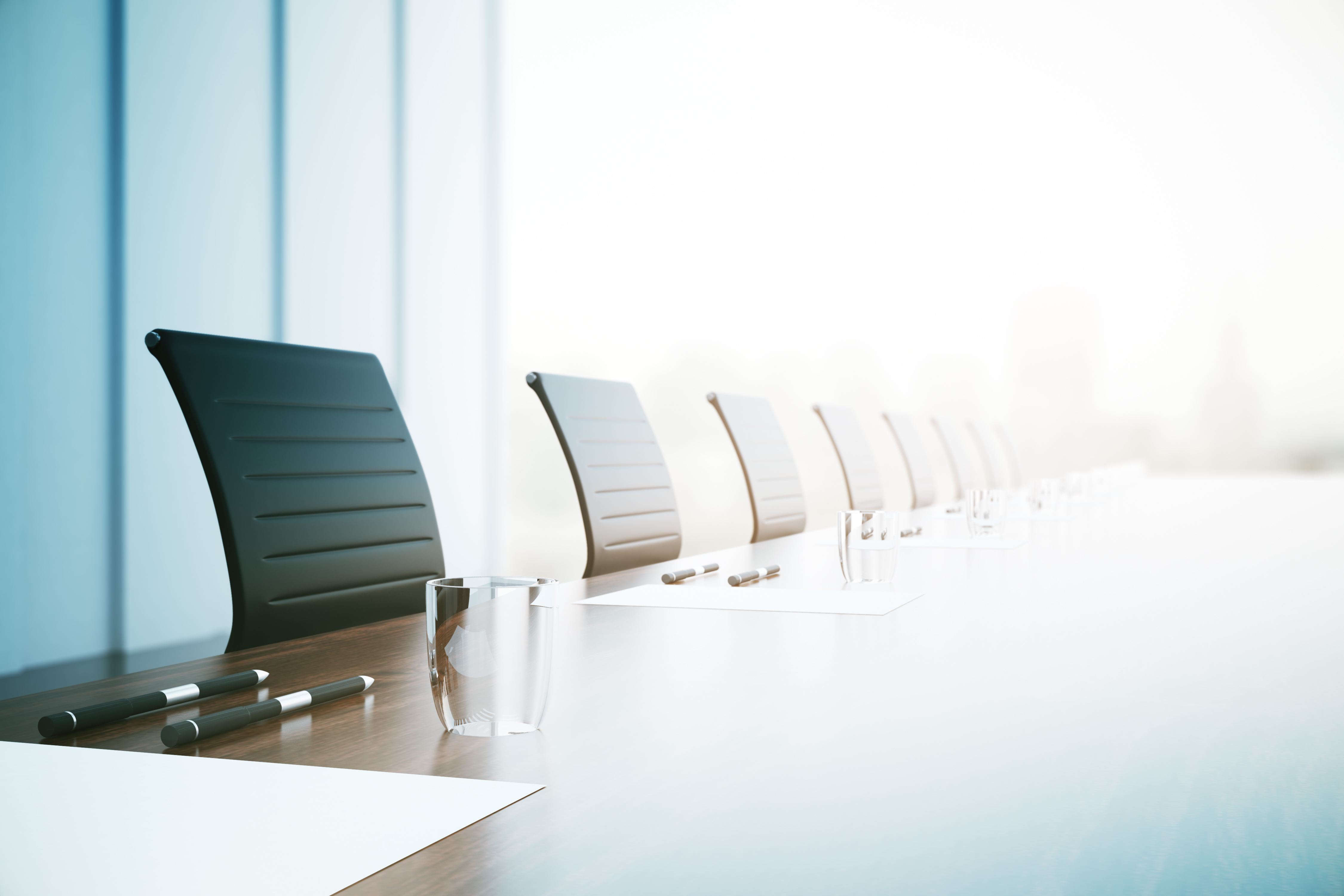 Conference Table Closeup Diligent Australia - Blue conference table